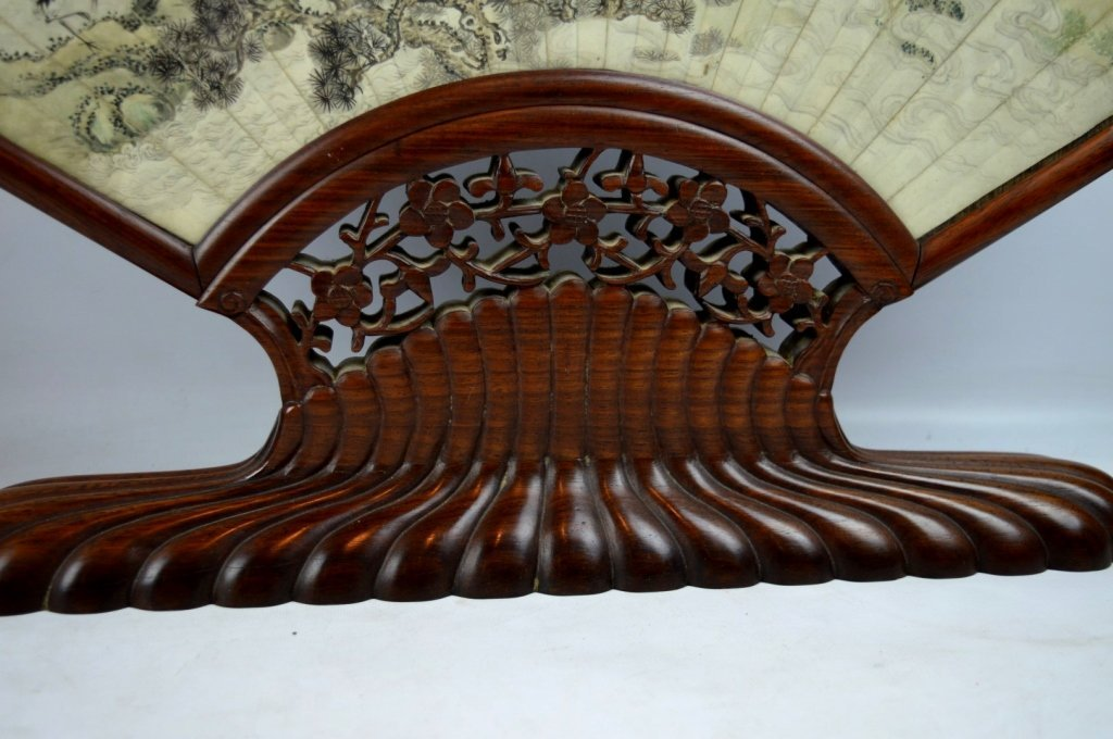 Antique Chinese Ink Painted Fan in Hardwood Stand - 6