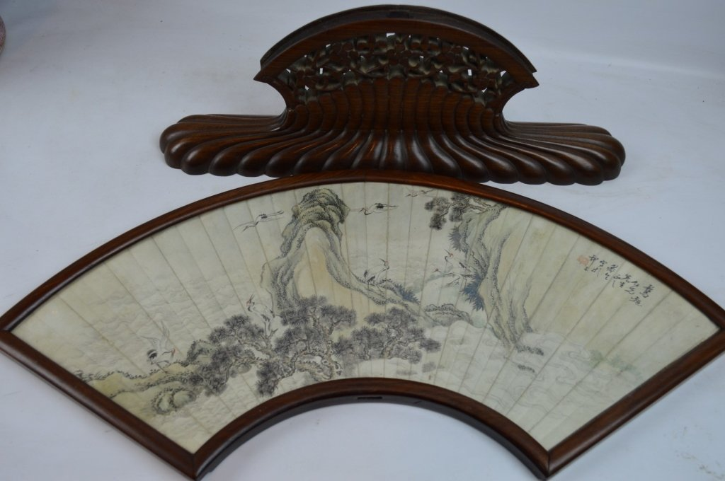 Antique Chinese Ink Painted Fan in Hardwood Stand - 8