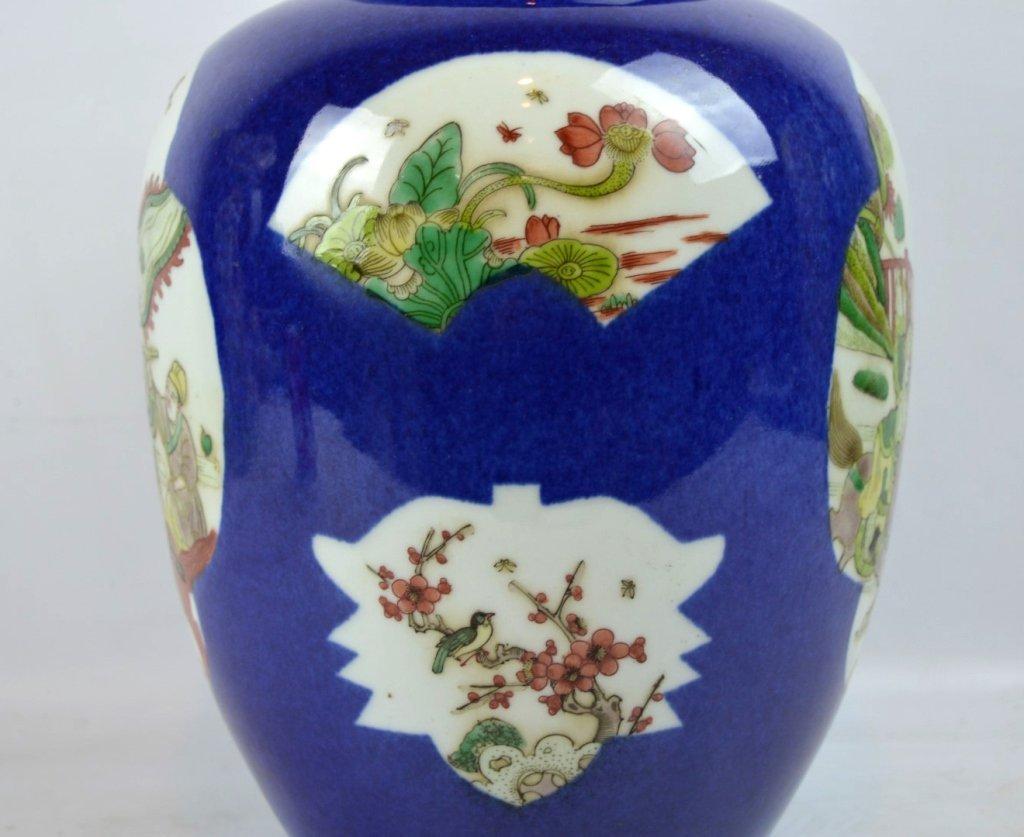 Antique Chinese Famille Verte on Powdered Blue Jar - 2