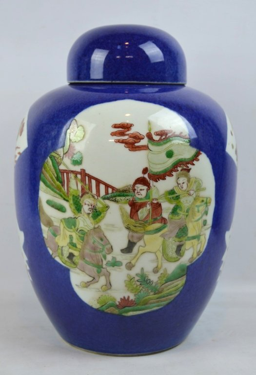 Antique Chinese Famille Verte on Powdered Blue Jar - 3