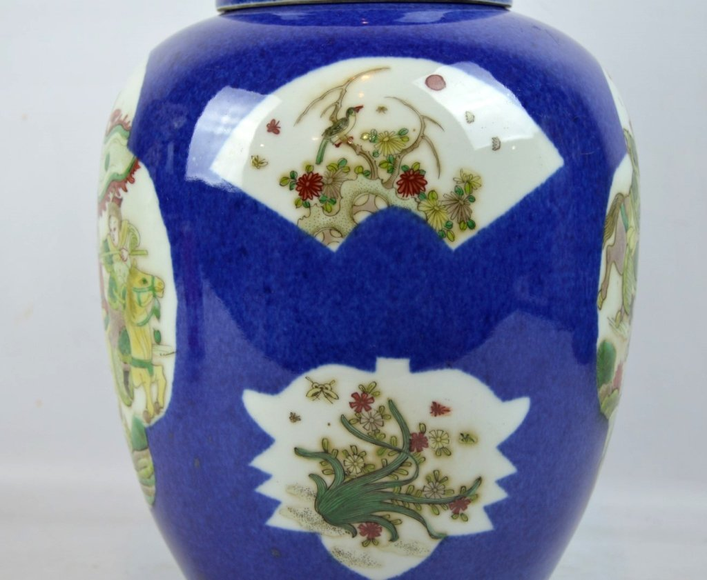 Antique Chinese Famille Verte on Powdered Blue Jar - 4