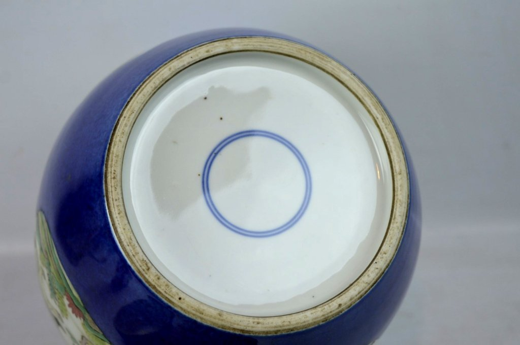 Antique Chinese Famille Verte on Powdered Blue Jar - 6