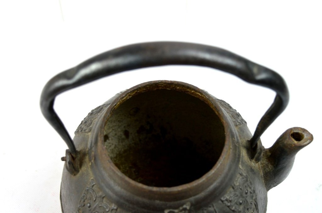 Good Japanese Iron Water Pot; Signed Bronze Lid - 6