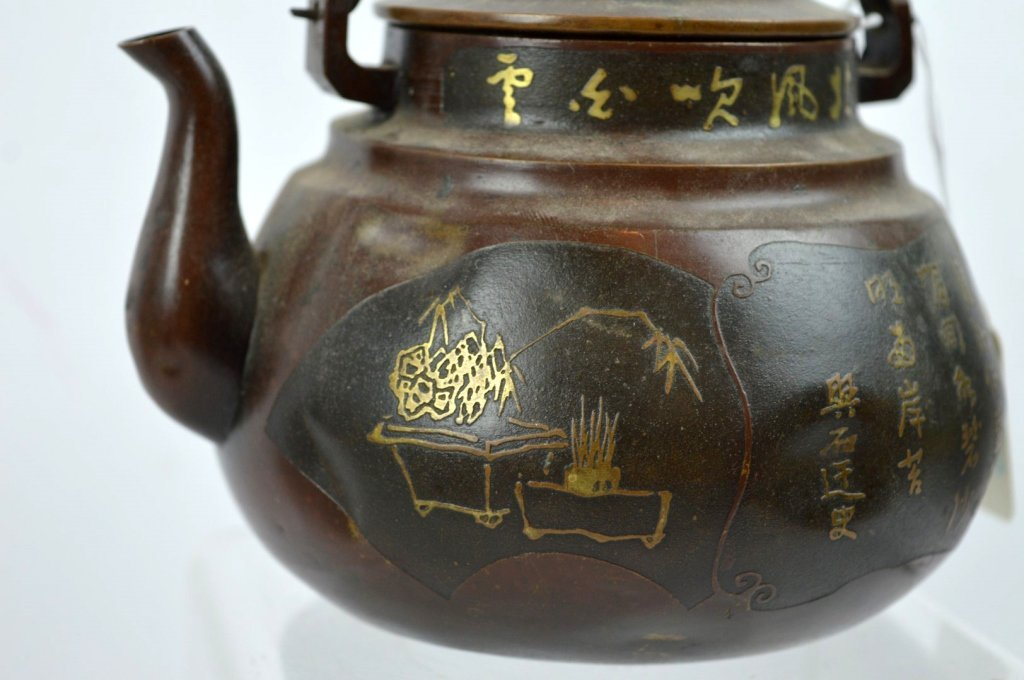 Antique Mixed Metals Japanese Teapot with Cover - 4