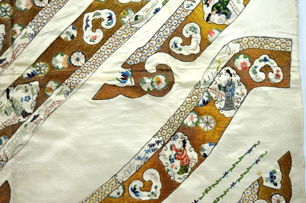 Qing Dynasty Chinese Un-Cut Silk Embroidery - 3