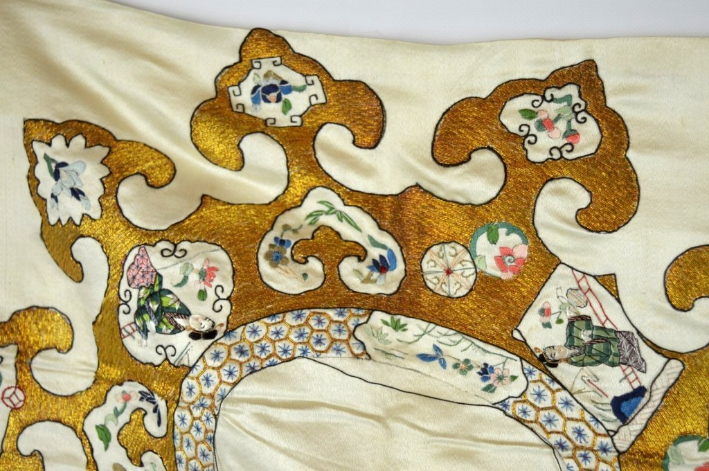 Qing Dynasty Chinese Un-Cut Silk Embroidery - 4