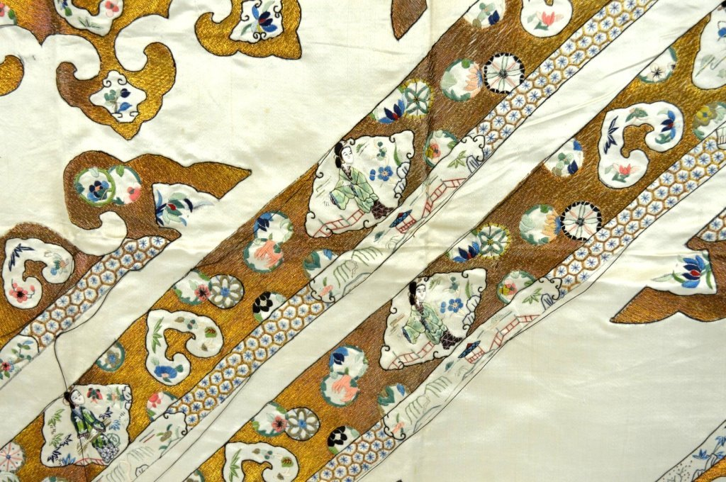 Qing Dynasty Chinese Un-Cut Silk Embroidery - 6
