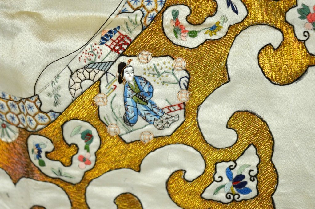 Qing Dynasty Chinese Un-Cut Silk Embroidery - 8