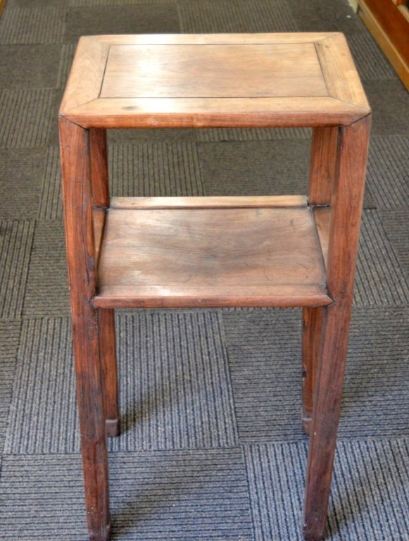Chinese Hardwood Side Table with Shelf.