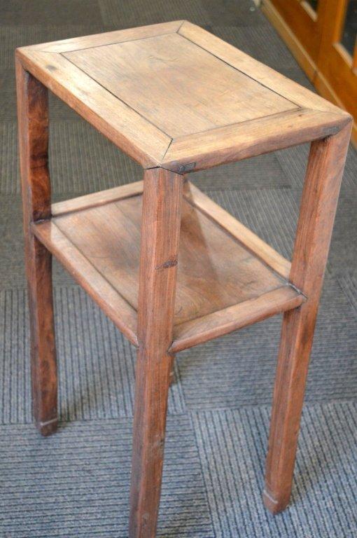 Chinese Hardwood Side Table with Shelf. - 4