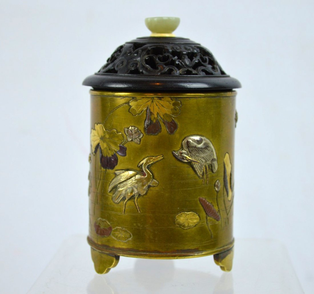 Fine 19th C Japanese Mixed Metal Pot & Cover