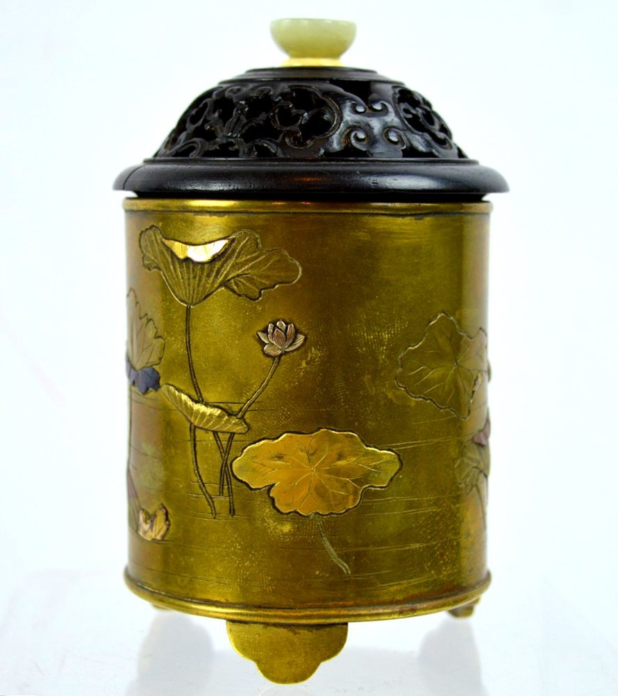 Fine 19th C Japanese Mixed Metal Pot & Cover - 2