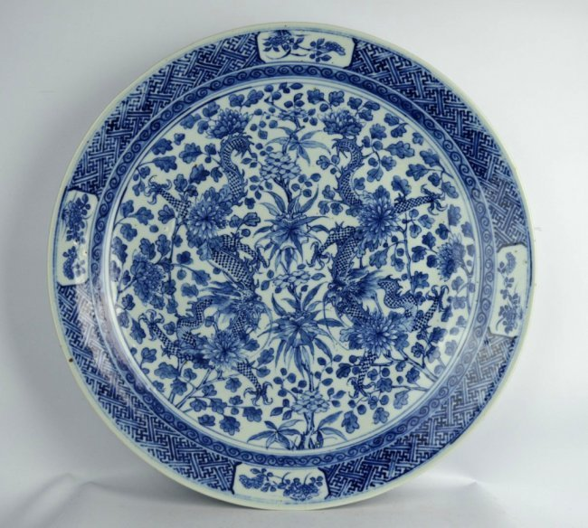 Large 19th C Chinese Blue & White Dragon Charger