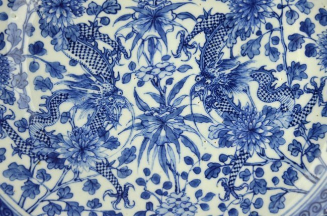 Large 19th C Chinese Blue & White Dragon Charger - 2