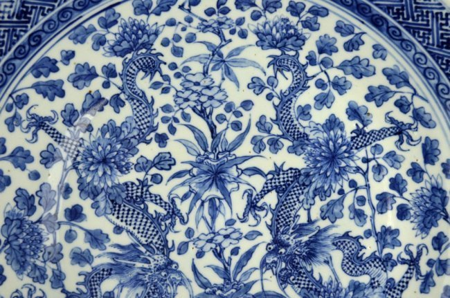 Large 19th C Chinese Blue & White Dragon Charger - 3