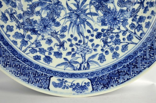 Large 19th C Chinese Blue & White Dragon Charger - 4