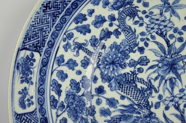 Large 19th C Chinese Blue & White Dragon Charger - 6