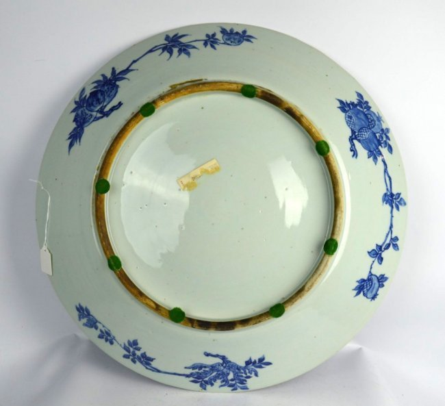 Large 19th C Chinese Blue & White Dragon Charger - 7