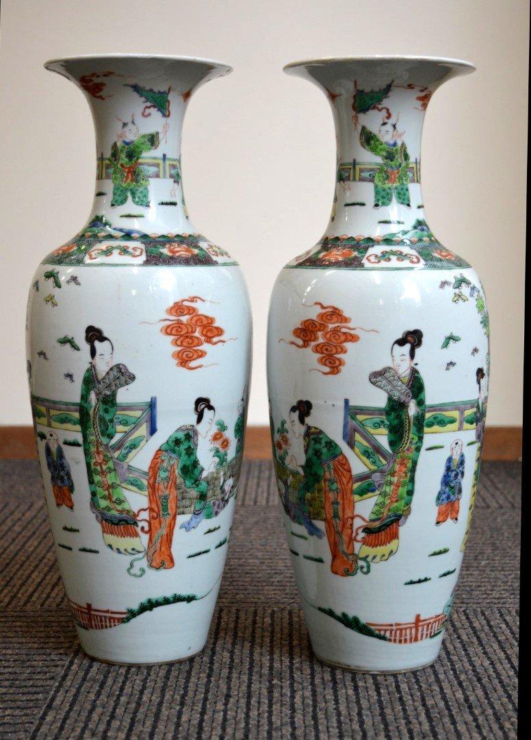 Pr Chinese Famille Verte Enameled Porcelain Vases
