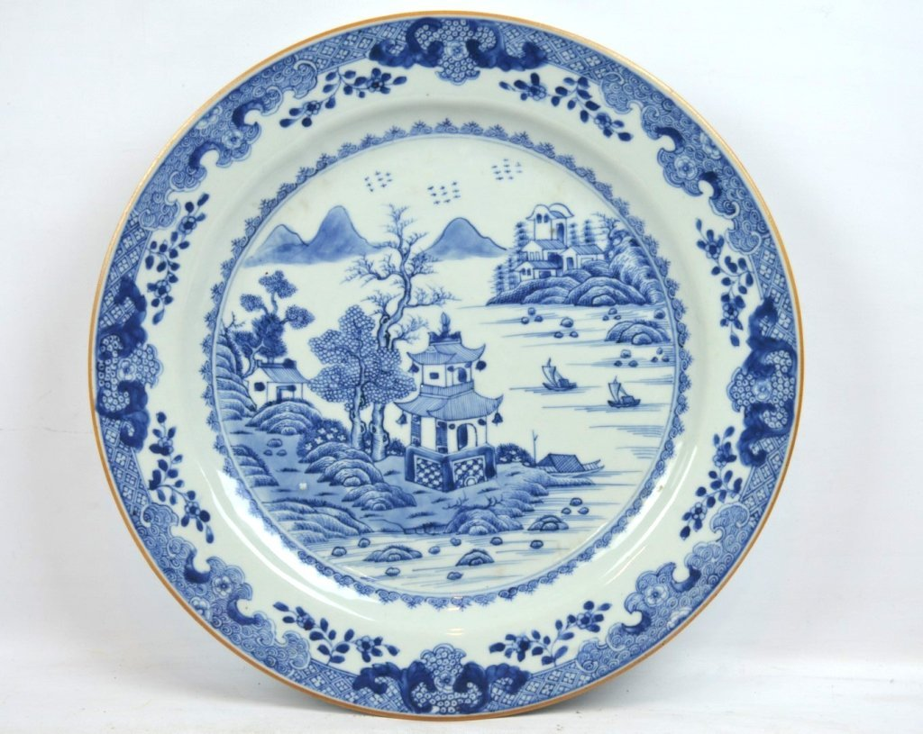 18th C Chinese Blue & White Porcelain Charger
