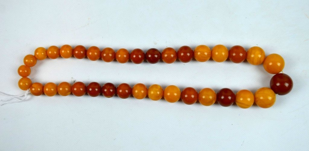 66 Grams Round Butterscotch Amber Bead Necklace