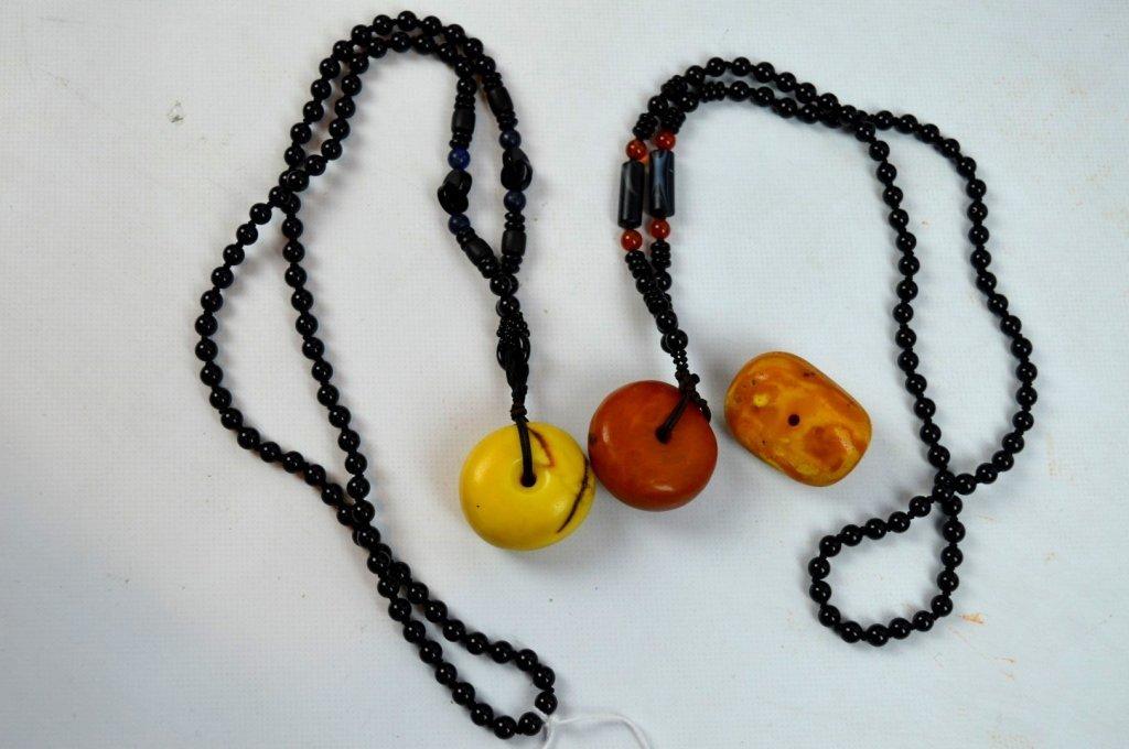 3 - Large Butterscotch Amber Beads, 32 Grams