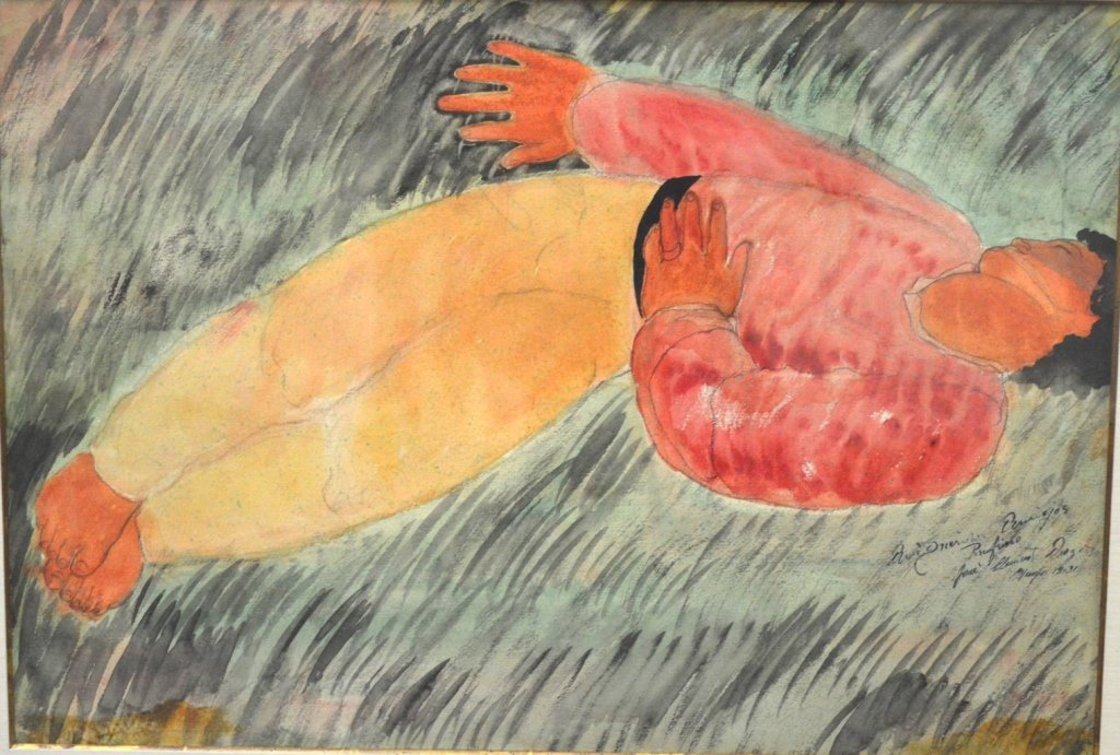 Mexican Sleeping Man Watercolor; Signed