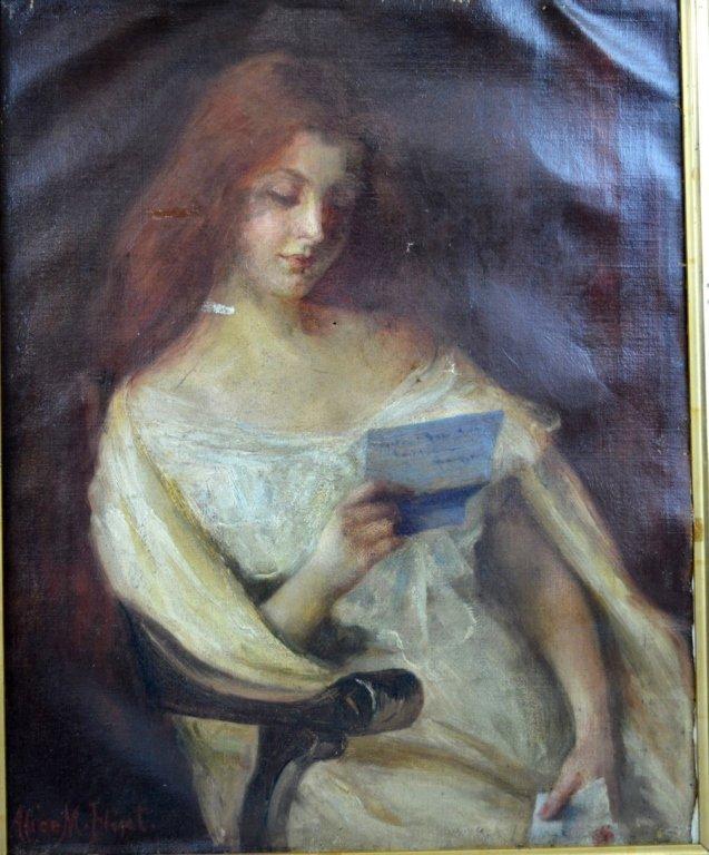 "Alice Morland Flint; Oil on Canvas ""Woman Reading"""