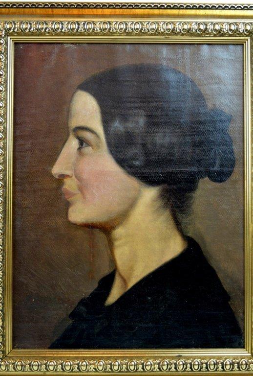 European Portrait Head Oil on Canvas