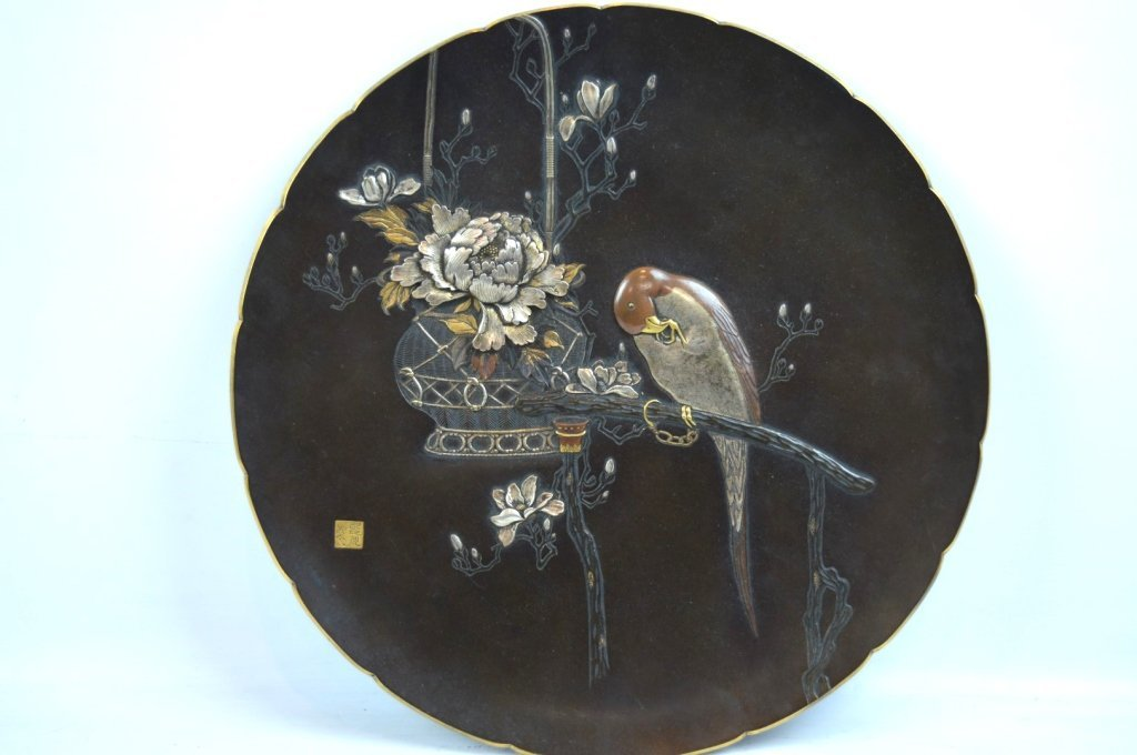 Japanese Mixed Metal Aesthetic Movement Plaque