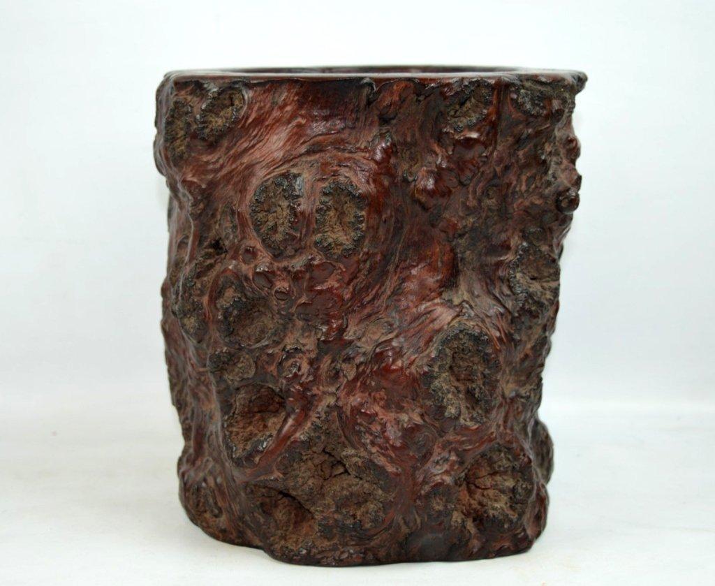 Large & Rare Chinese Burlwood Brush Pot