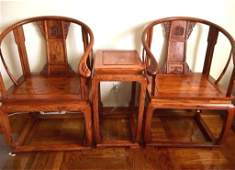 Good Pair Chinese Huanghuali Armchairs & a Table