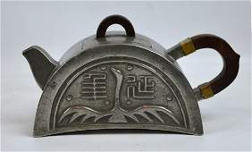 Chinese 19th C Pewter Roof-Tile Shaped Teapot