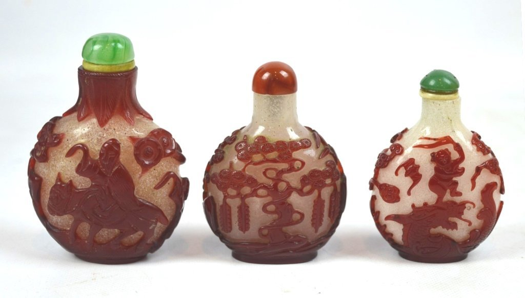 3 - Chinese Carved Red over Snowflake Glass Snuffs