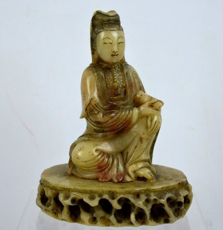Small Antique Chinese Carved Soapstone Guanyin