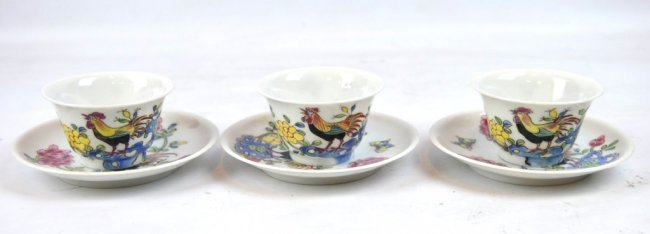 3 - Chinese Porcelain Teacups and Saucers