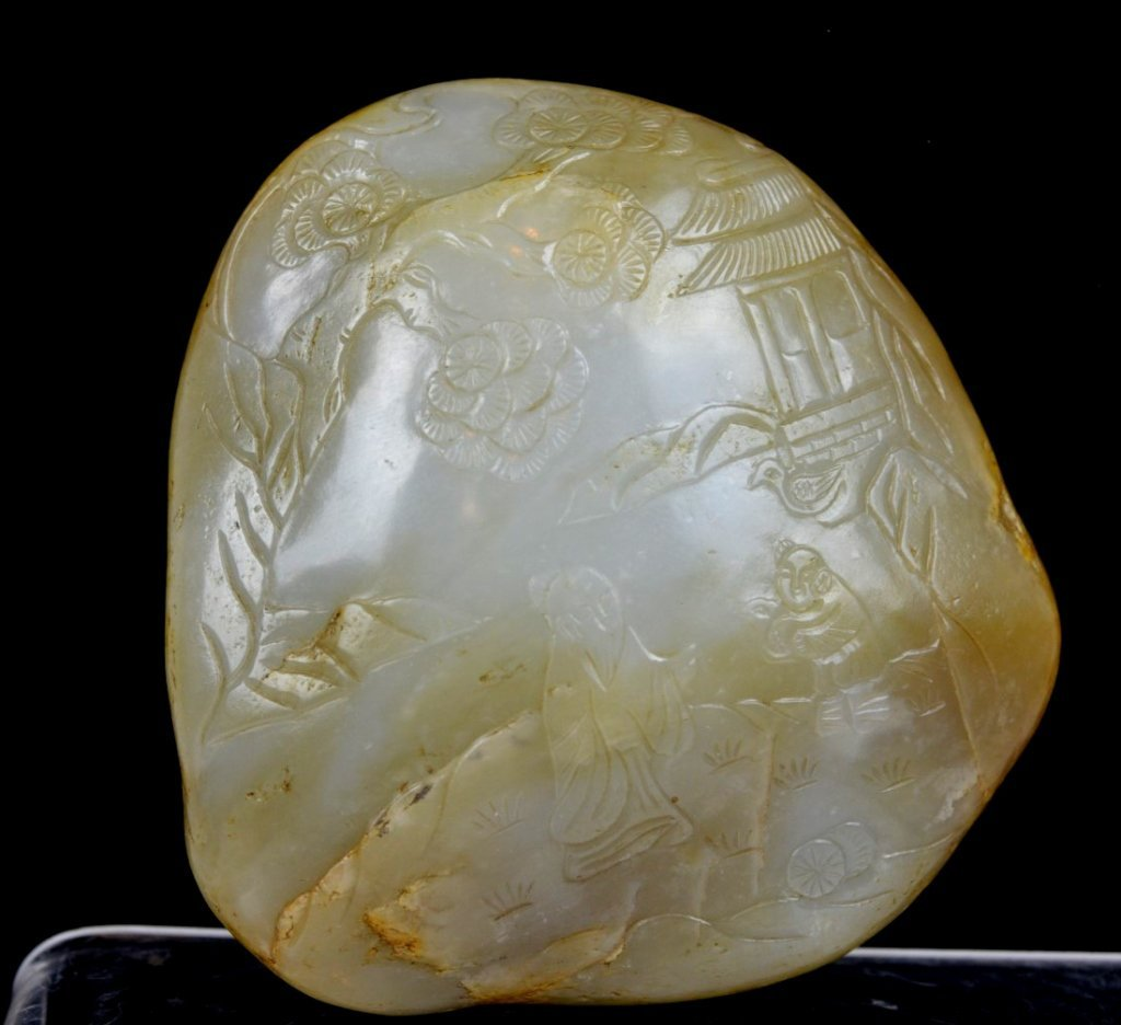 "Antique Chinese Carved ""Zigang"" Jade Paperweight"
