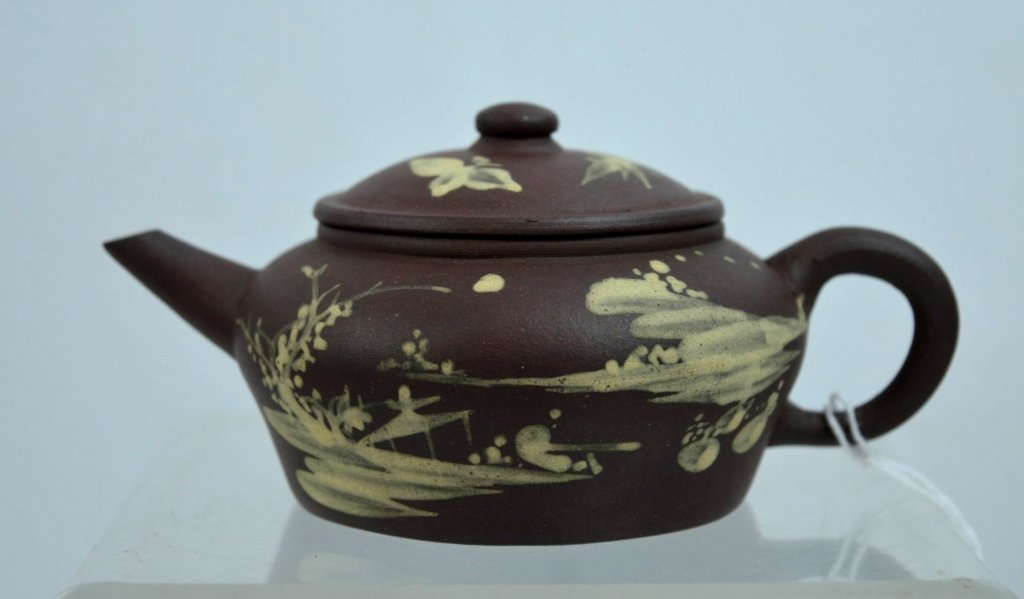 Fine 19th C Chinese Slip Decorated Yixing Teapot