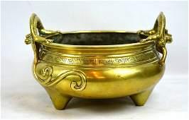 Good 18th C Chinese Dragon Handle Bronze Censer