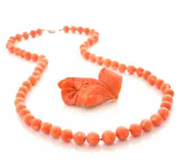 Good Coral Bead Necklace & Floral Carved Pin