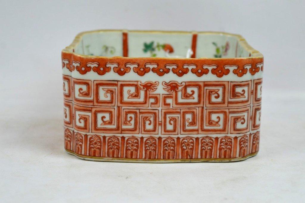 Good 19th C Chinese Enameled Porcelain Square Pot