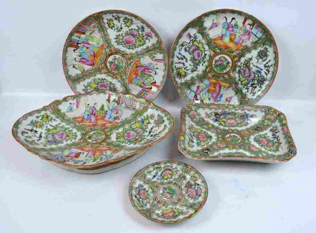 "5 - 19thC Chinese ""Rose Medallion"" Plates Platters"