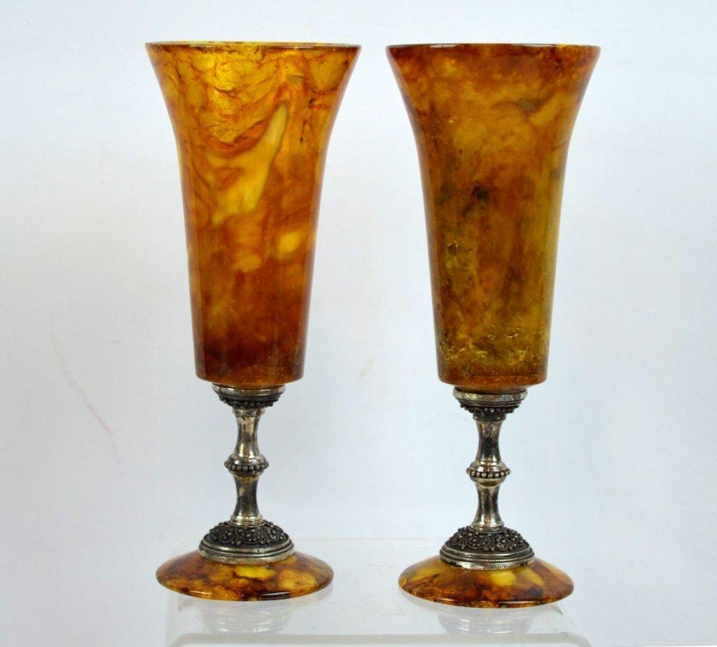 Rare Pair Russian Czarist Amber & Silver Goblets