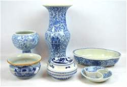 6 Pieces of Chinese 19th C Blue  White Porcelain