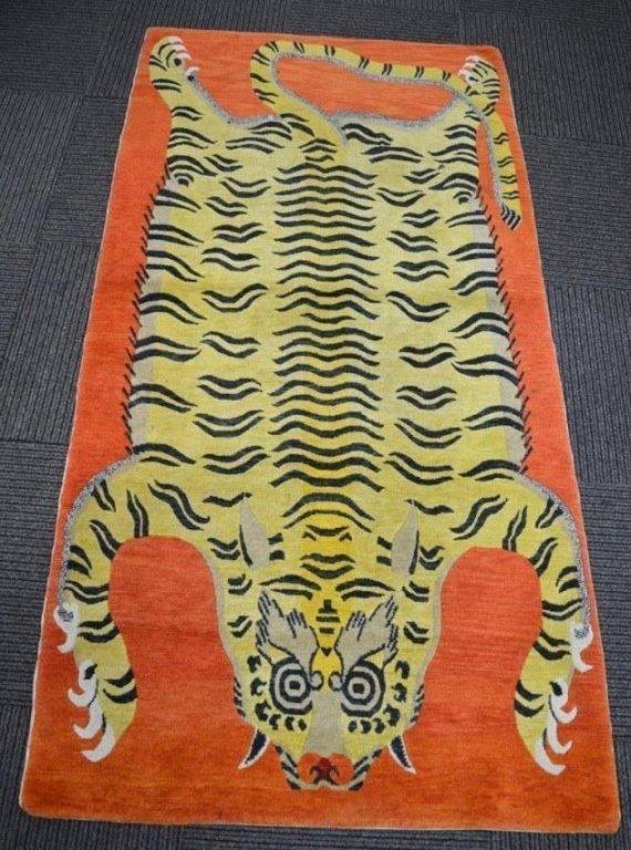 Antique Tibetan Tiger Rug