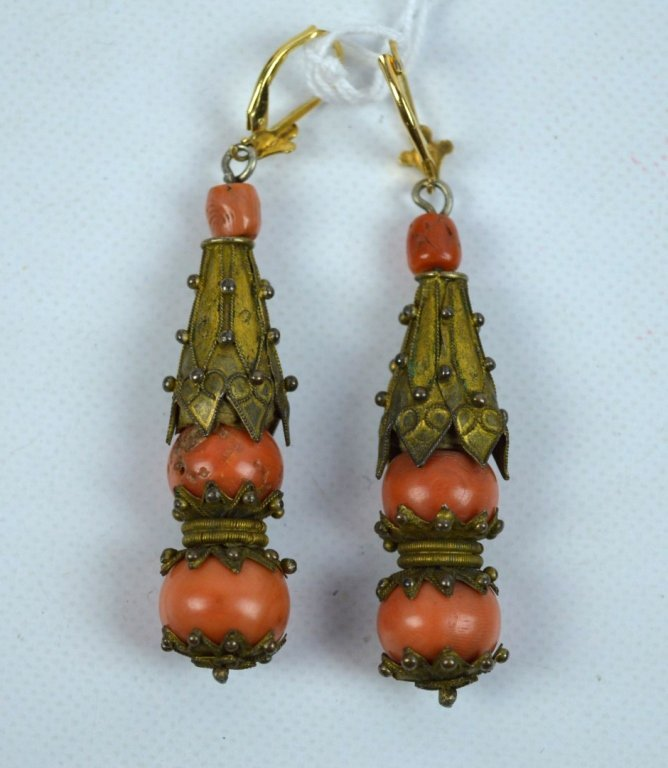 Pair Antique Chinese Gilt Metal & Coral Earrings