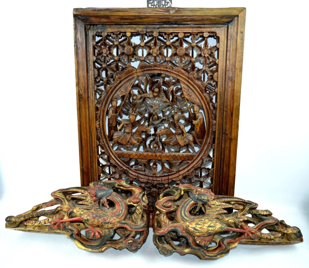 3 - Antique Architectural Chinese Wood Carvings