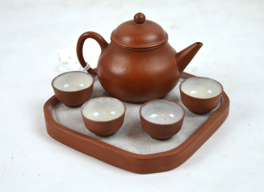Rare Miniature Chinese Yixing Teapot, Cups, & Tray