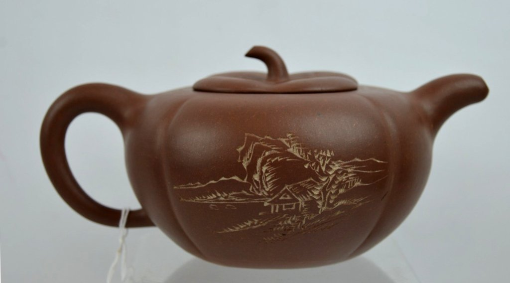 Fine Chinese Republic Incised Yixing Teapot