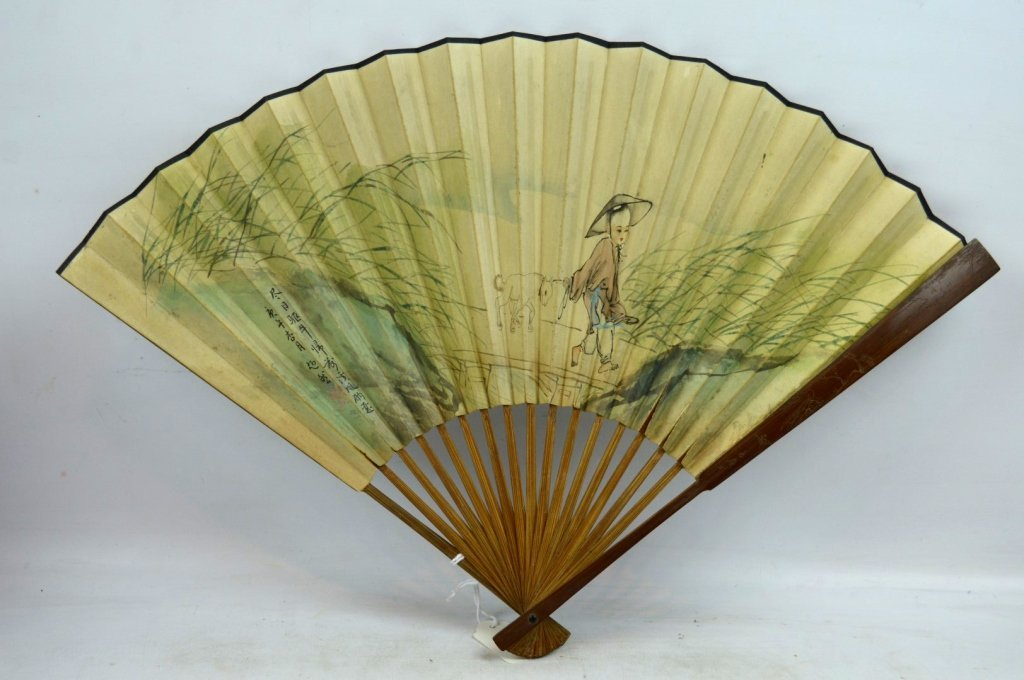 Antique Chinese Bamboo Fan Frame & Painting
